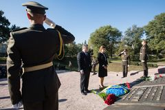 Ceremony of honoring memory of Babyn Yar victims, Ukraine. KIEV, UKRAINE - Sep. 29, 2017: President ofUkraine Petro Poroshenko and his wife Maryna Poroshenko Royalty Free Stock Image