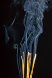 Ceremony incense burning. Yellow sticks of ceremony incense smoking on black background Stock Photos