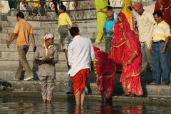 Ceremony on lake in India Royalty Free Stock Photography