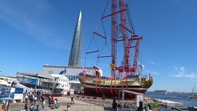 Ceremony of launching a replica of the ancient Russian ship of Tsar Peter I Poltava in Historical Shipyard stock footage