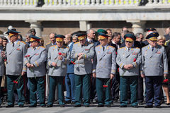 Ceremony of laying flowers to the Tomb of the Unknown Soldier. MOSCOW, RUSSIA — MAY 8, 2014: The generals and Russian policy in the ceremony of laying flowers Royalty Free Stock Images