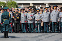 Ceremony of laying flowers to the Tomb of the Unknown Soldier. MOSCOW, RUSSIA — MAY 8, 2014: The generals and Russian policy in the ceremony of laying flowers Stock Images