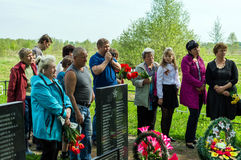 The ceremony at the mass grave in the village of Kaluga region (Russia) on 8 may 2016. Stock Images