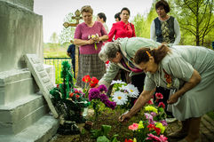 The ceremony at the mass grave in the village of Kaluga region (Russia) on 8 may 2016. Stock Image
