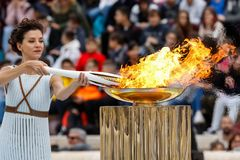 Ceremony of the Olympic Flame for Winter Olympics. Athens, Greece - Oct 31,2017: The Olympic flame was handed to organizers of the Pyeongchang South Korean stock photo