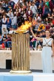 Ceremony of the Olympic Flame for Winter Olympics. Athens, Greece - Oct 31,2017: The Olympic flame was handed to organizers of the Pyeongchang South Korean Royalty Free Stock Photo