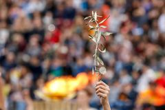 Ceremony of the Olympic Flame for Winter Olympics Stock Photo