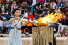 Ceremony of the Olympic Flame for Winter Olympics. Athens, Greece - Oct 31,2017: The Olympic flame was handed to organizers of the Pyeongchang South Korean Stock Photography