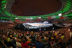 Ceremony of the Olympic Games in Maracana stadium stock images