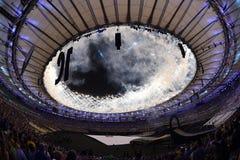 Ceremony of the Olympic Games in Maracana stadium Royalty Free Stock Photo