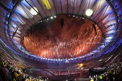 Ceremony of the Olympic Games in Maracana stadium Royalty Free Stock Photography