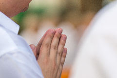 Ceremony of ordination. First pray of new monks Royalty Free Stock Image