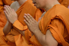 Ceremony of ordination. First pray of new monks Stock Image