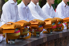 Ceremony of ordination. First pray of new monks Stock Images