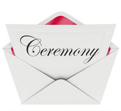 Ceremony Party Commemoration Event Invitation Envelope. Ceremony word on an invitation in an open envelope to illustrate the announcement of a special event stock illustration