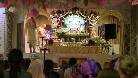Ceremony with Purifying fire in Hare Krishna Temple stock video