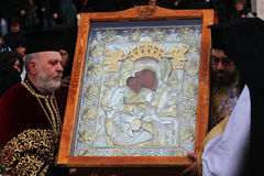 Religious ceremony. Ceremony for the removal of silver Miraculous icon ,Is worthy, from  Al. Nevsky Cathedral, Sofia Royalty Free Stock Images