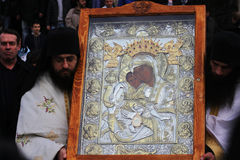 Ceremony. For the removal of silver Miraculous icon ,Is worthy, from  Al. Nevsky Cathedral, Sofia Stock Images