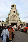 Ceremony. For the removal of silver Miraculous icon ,Is worthy, from  Al. Nevsky Cathedral, Sofia Royalty Free Stock Photos