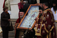 Ceremony. For the removal of silver Miraculous icon ,Is worthy, from  Al. Nevsky Cathedral, Sofia Royalty Free Stock Photo
