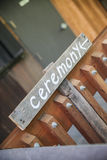 Ceremony sign on gate Stock Images