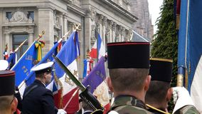 Ceremony to mark Western allies World War Two victory Armistice. STRASBOURG, FRANCE - MAY 8, 2017: Ceremony to mark Western allies World War Two victory stock photography