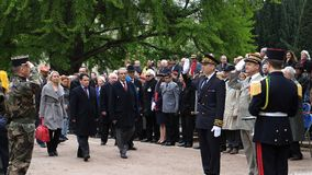 Ceremony to mark Western allies World War Two victory Armistice. STRASBOURG, FRANCE - MAY 8, 2017: Ceremony to mark Western allies World War Two victory royalty free stock photos