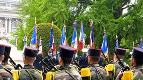 Ceremony to mark Western allies World War Two victory Armistice. STRASBOURG, FRANCE - MAY 8, 2017: MIlitary group at ceremony Western allies World War Two stock image