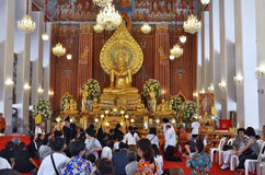 Ceremony at Wat Chana Songkhram Ratchaworamahawihan in Bangkok Royalty Free Stock Images