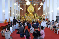 Ceremony at Wat Chana Songkhram Ratchaworamahawihan in Bangkok Royalty Free Stock Photo
