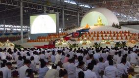 Ceremony at Wat Phra Dhammakaya. Buddhist ceremony at Wat Phra Dhammakaya in Khlong Luang, Pathum Thani, Thailand stock video footage