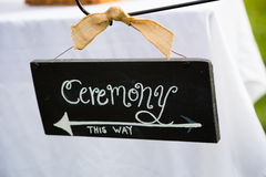 Ceremony This Way Sign Stock Photo