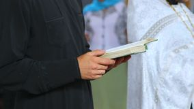 Ceremony of wedding in Christian church stock footage