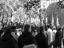 Ceremony Western allies World War Two victory Armistice. STRASBOURG, FRANCE - MAY 8, 2017: Ceremony to mark Western allies World War Two victory Armistice in royalty free stock images
