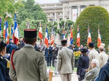 Ceremony Western allies World War Two victory Armistice. STRASBOURG, FRANCE - MAY 8, 2017: Ceremony to mark Western allies World War Two victory Armistice in royalty free stock photo