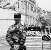 Ceremony Western allies World War Two victory Armistice. STRASBOURG, FRANCE - MAY 8, 2017: Ceremony to mark Western allies World War Two victory Armistice in stock image