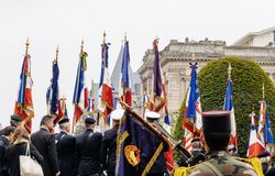 Ceremony Western allies World War Two victory Armistice. STRASBOURG, FRANCE - MAY 8, 2017: Ceremony to mark Western allies World War Two victory Armistice in stock photos
