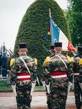 Ceremony Western allies World War Two victory Armistice. STRASBOURG, FRANCE - MAY 8, 2017: Ceremony to mark Western allies World War Two victory Armistice in royalty free stock photography