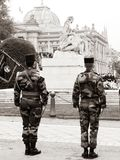 Ceremony Western allies World War Two victory Armistice. STRASBOURG, FRANCE - MAY 8, 2017: Ceremony to mark Western allies World War Two victory Armistice in stock photo
