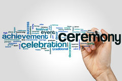 Ceremony word cloud. Concept on grey background stock photography