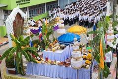 Ceremony worship Lord Vishnu. LOEI THAILAND - JUNE 2015 :In June every year is ceremony worship Lord Vishnu , the God of education, knowledge and wisdom of Loei stock photography