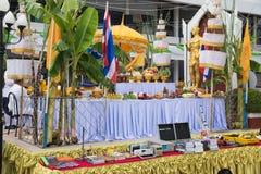 Ceremony worship Lord Vishnu. LOEI THAILAND - JUNE 2015 :In June every year is ceremony worship Lord Vishnu , the God of education, knowledge and wisdom of Loei royalty free stock photo