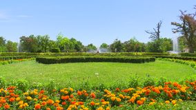 Ceres喷泉四射击和'Las Nereidas'分配为花坛的区域庭院在阿雷胡埃斯,西班牙,06/02/2019 热的天 股票录像