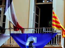 Ceret, flags at City Hall, France Stock Images