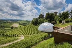 Ceretto vinodling med den siktspunkt, vingårdar och slotten arkivbilder