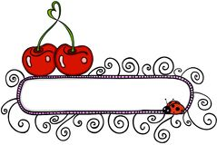 Cereza del amor con la bandera en blanco y mariquita ilustración del vector
