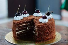 Cereza deliciosa de la torta de las pinturas de la torta juicyly dulce fotos de archivo