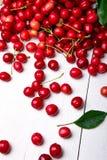 Cereza dispersada de la cesta Cerezas en cesta en el fondo blanco Sano, fruta del verano Cerezas Cierre para arriba Imagen de archivo libre de regalías