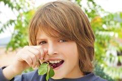 cereza en la boca Foto de archivo libre de regalías