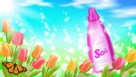 Cereza realista de Sakura de la mariposa de la flor del tulipán del fondo de la luz de cielo de azul de la hierba verde del paisa stock de ilustración